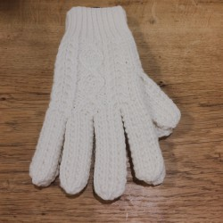 Guantes lana blanco natural